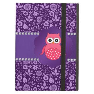 Cute owl purple flowers iPad air cover