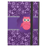 Cute owl purple flowers iPad case