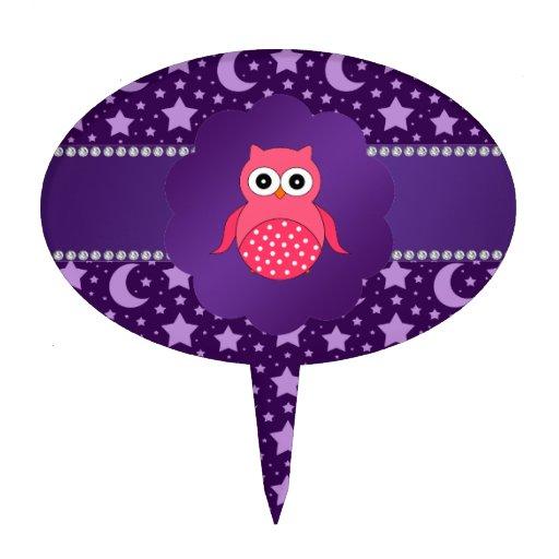 Cute owl purple stars and moons cake picks