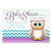 Cute Owl - Purple & Turquoise Chevron Baby Shower Card