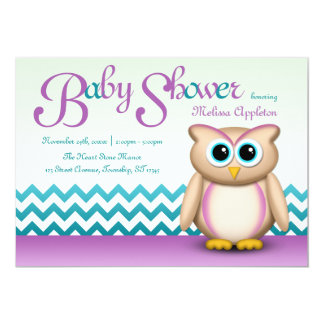 Cute Owl - Purple & Turquoise Chevron Baby Shower Card