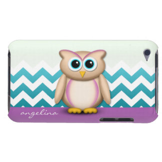 Cute Owl - Purple Turquoise Chevron iPod Case Barely There iPod Cases