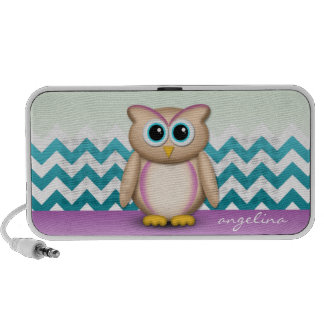 Cute Owl - Purple & Turquoise Chevron Speaker