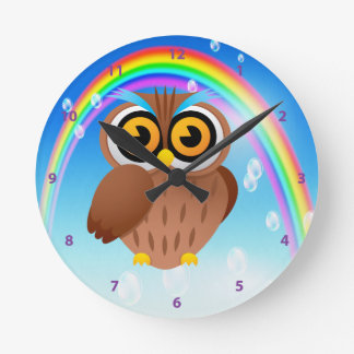 Cute Owl & Rainbow Clock