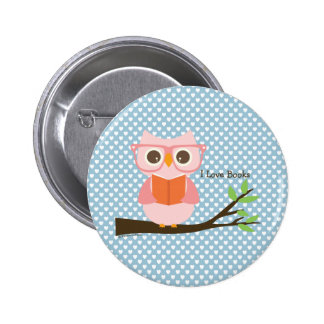 Cute Owl Reading Button