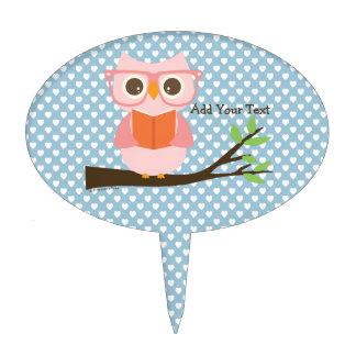 Cute Owl Reading Cake Topper