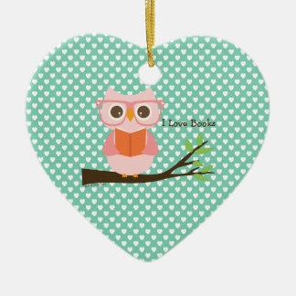 Cute Owl Reading Ceramic Ornament