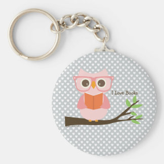Cute Owl Reading Keychain
