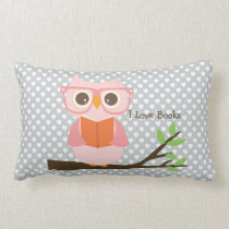 Cute Owl Reading Lumbar Pillow