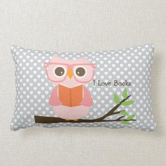 Cute Owl Reading Lumbar Pillow
