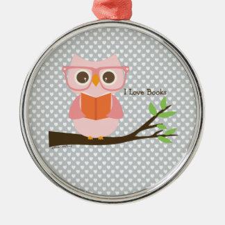 Cute Owl Reading Metal Ornament