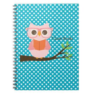 Cute Owl Reading Spiral Notebook