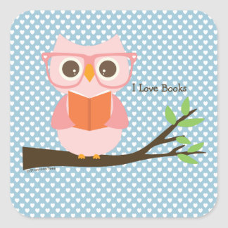 Cute Owl Reading Square Sticker