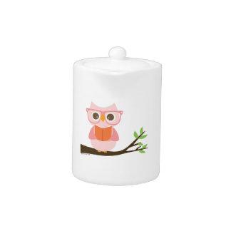 Cute Owl Reading Teapot