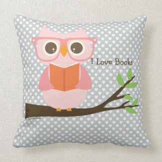 Cute Owl Reading Throw Pillow