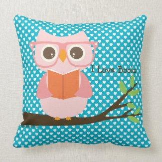 Cute Owl Reading Throw Pillow