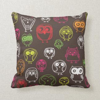 Cute owl retro pattern bird design pillows