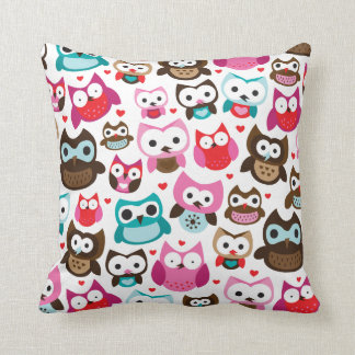 Cute owl retro pattern birds design throw pillow