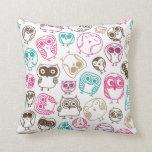 Cute owl retro pattern birds design throw pillows