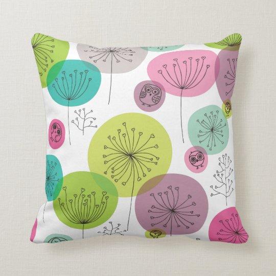 Cute owl retro pattern flower design throw pillow