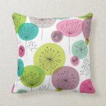 Cute owl retro pattern flower design throw pillows