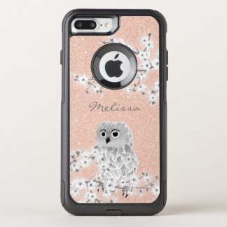 Cute Owl Rose Gold Bling Monogram OtterBox Commuter iPhone 7 Plus Case