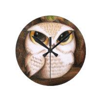 Cute Owl Round Clock