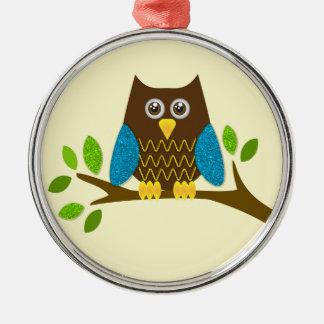 cute owl round metal christmas ornament