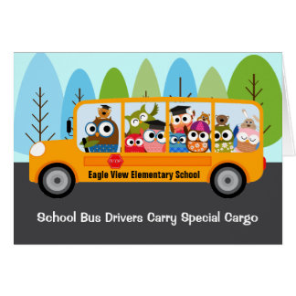 Cute Owl School Bus Driver Appreciation Thank You Card