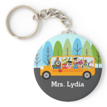 Cute Owl School Bus Driver Keychain