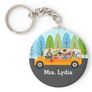 Cute Owl School Bus Driver Keychain