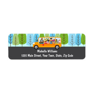 Cute Owl School Bus Driver Label