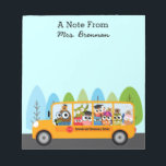 """Cute Owl School Bus Driver Notepad<br><div class=""""desc"""">A yellow school bus with an owl driver and student passengers.  They driving down a street lined with cute whimsical blue and green trees.  Personalize this note pad for a bus driver,  teacher,  educator or school employee.  You can also add the school name on the bus.</div>"""
