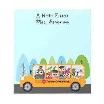 Beach Themed Cute Owl School Bus Driver Notepad