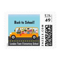 Cute Owl School Bus Driver Postage