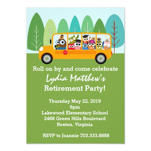 Gift Ideas For Truck Drivers Cute Owl School Bus Driver Retirement Party 4.5x6.25 Paper Invitation ...