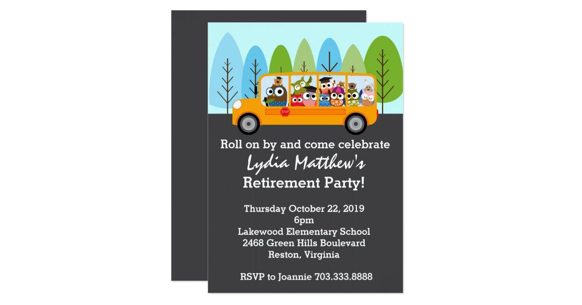 Cute Owl School Bus Driver Retirement Party Card Zazzle