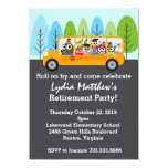 Cute Owl School Bus Driver Retirement Party Card