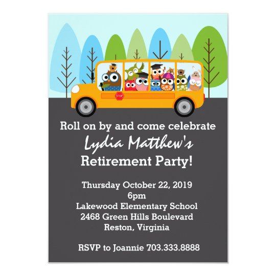 Elementary school invitations announcements zazzle cute owl school bus driver retirement party card stopboris Image collections