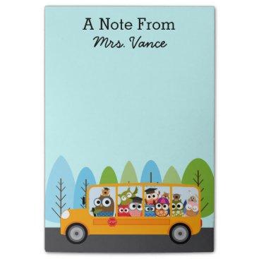 Beach Themed Cute Owl School Bus Driver Teacher Post-it Notes
