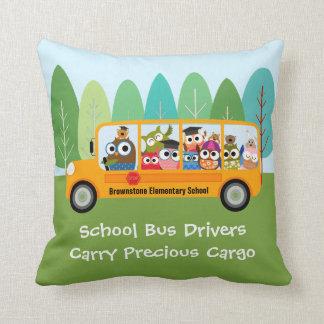 Cute Owl School Bus Driver Throw Pillow