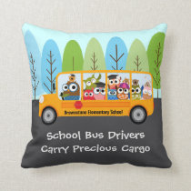 Cute Owl School Bus Driver Throw Pillow