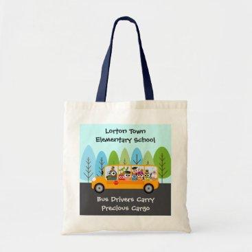 Christmas Themed Cute Owl School Bus Driver Tote Bag