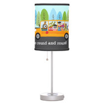 Cute Owl School Bus Table Lamp
