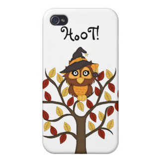 Cute Owl sitting in a Tree-Halloween/Fall Case For iPhone 4