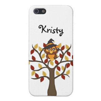 Cute Owl sitting in a Tree-Halloween/Fall+Name iPhone SE/5/5s Cover