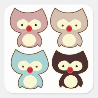 cute owl square sticker
