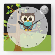 Cute owl square wall clock