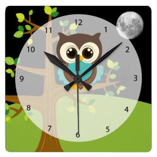 Cute owl square wall clock