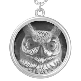 Cute Owl Statue Round Pendant Necklace